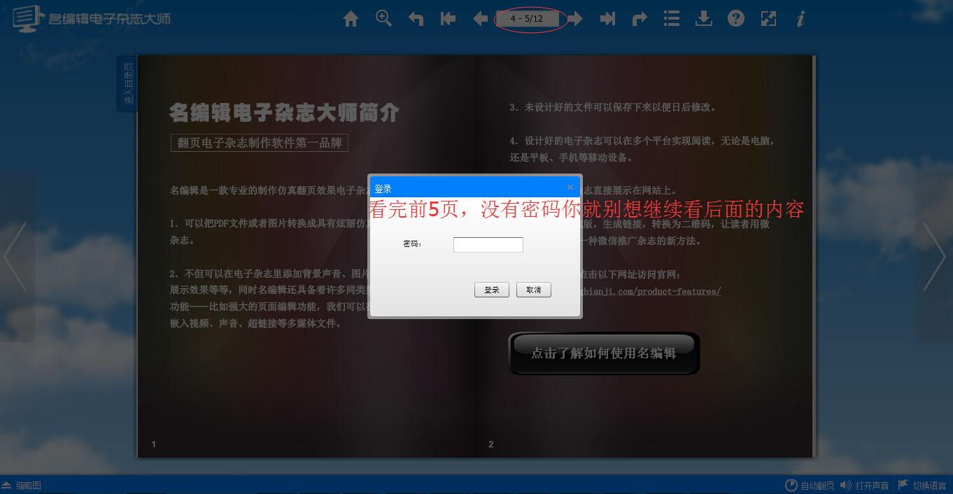 电子杂志制作软件 密码保护