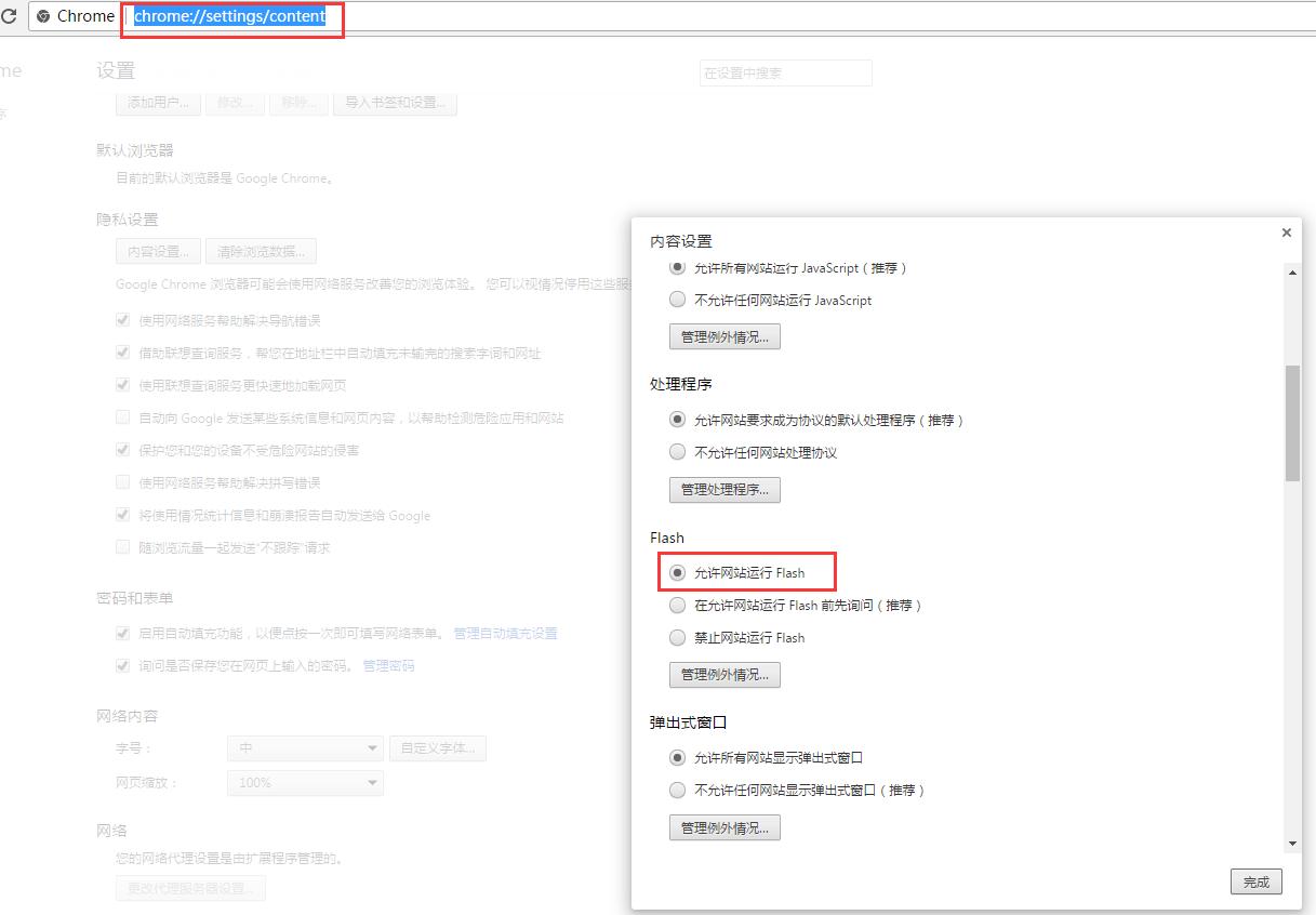 Chrome启用flash选项